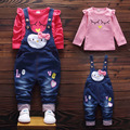 2016 Autumn new children girls clothing set cotton t shirt with carton print overalls baby girls clothes A053