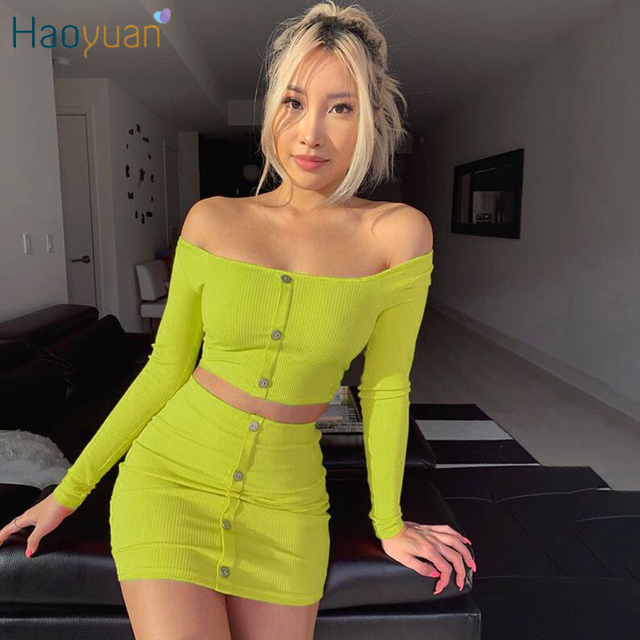 HAOYUAN Sexy Orange Green Women Two Piece Club Outfits Off Shoulder Crop Top+Short Mini Skirt Matching Sets Festival Clothing