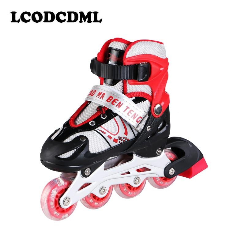 Patins à roulettes à une rangée pour enfants adultes garçons et filles PVC 4 roues sport de plein air clignotant