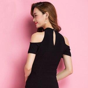 Image 4 - 最新流行エレガントでモダンな黒ラテンダンストップ女性用/女性/ガール、ファッション半袖パフォーマンスの摩耗upperwears yc1218