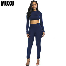 MUXU sexy bodysuit women casual long sleeve two piece set top and pants black ladies summer suit