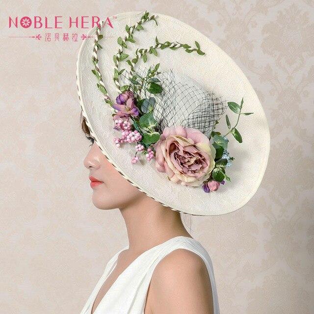 Высокого класса пользовательских Г-Жа ретро элегантный белье марлевые цветы малый hat mesh cap hat небольших вечеринок