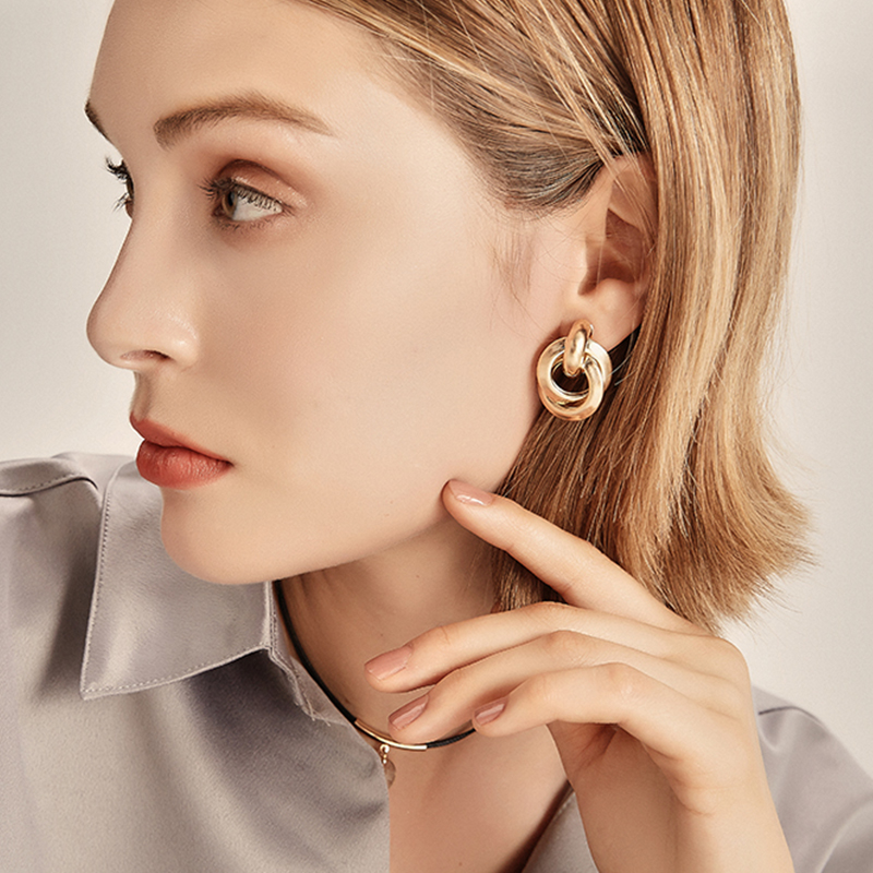 Amorcome Gold Silver Alloy Drop Earrings For Women Exaggeration Earings Wedding Simple Fashion Jewelry Trend Accessories