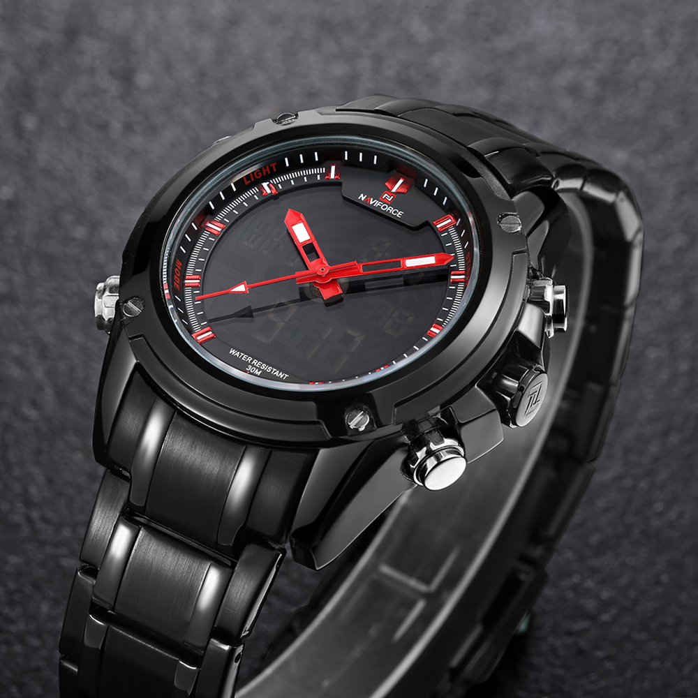 Relogio Masculino Brand NAVIFORCE Watches men luxury Full Steel Quartz Clock LED Digital Watch Army Military Sport wristwatch naviforce watches men luxury brand quartz watch clock digital led army military sport watch relogio masculino free for regulator