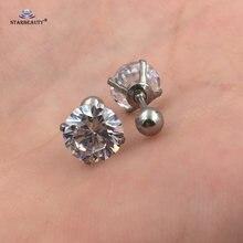 Серьги гвоздики с прозрачным кристаллом Для Пирсинга Ушей 2