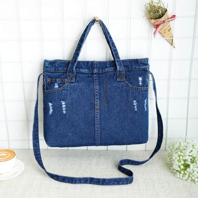 5f6616c7081c Casual Fashion Zipper Design Black Blue Denim Pocket Vintage Women Tote Bags  Lady Handbags Jeans Denim Messager Shoulder bags