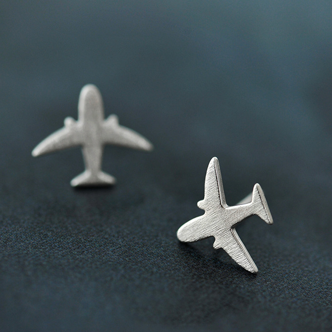 Fyla Mode Real 925 Sterling Silver Aircraft Airplane Plane Stud Earrings Women's Handmade Pure Silver Jewelry New image