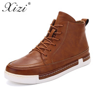 XIZI Waterproof Men Boots Pu Leather Men Shoes 2017 Casual Lace Up Ankle Boots Western Winter