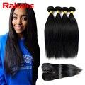 Stema Hair With Closure Brazilian Virgin Hair With Closure 4 Bundles With Closure 7A Raw Brazilian Straight Hair With Closure