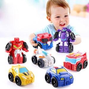 Image 2 - Cartoon Transformation Robot Action figur Spielzeug Mini Autos Roboter Klassische modell Spielzeug Für Kinder Geschenke Brinquedos