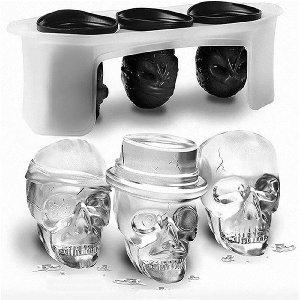 High quality 3D Skull Head Ice Cube Mold Halloween Home Bar Silicone Skull Ice Cube Tray Biscuit Cake Chocolate Maker Moulds