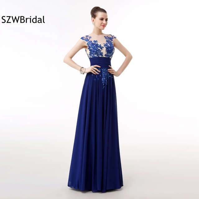 ff75ca500599d Yeni Varış Cap sleeve Kraliyet mavi abiye 2019 Boncuk Dantel Kaftan Ucuz  gece elbisesi Artı boyutu