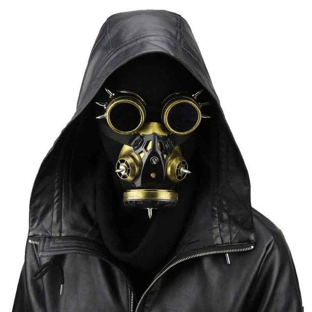 Punk Style Gothic Mask Gold Men Women Carnival Makeup Cosplay Party Steampunk Gas Anime