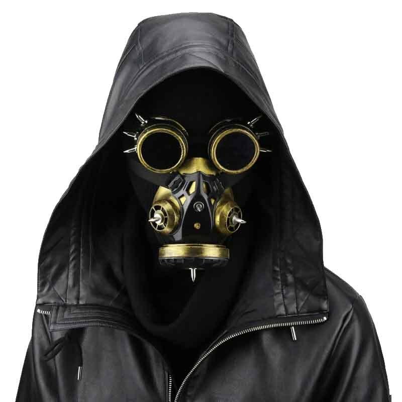Punk gótico oro hombres/mujeres carnaval cosmética Cosplay partido Steampunk gas mask Halloween Complementos para disfraces