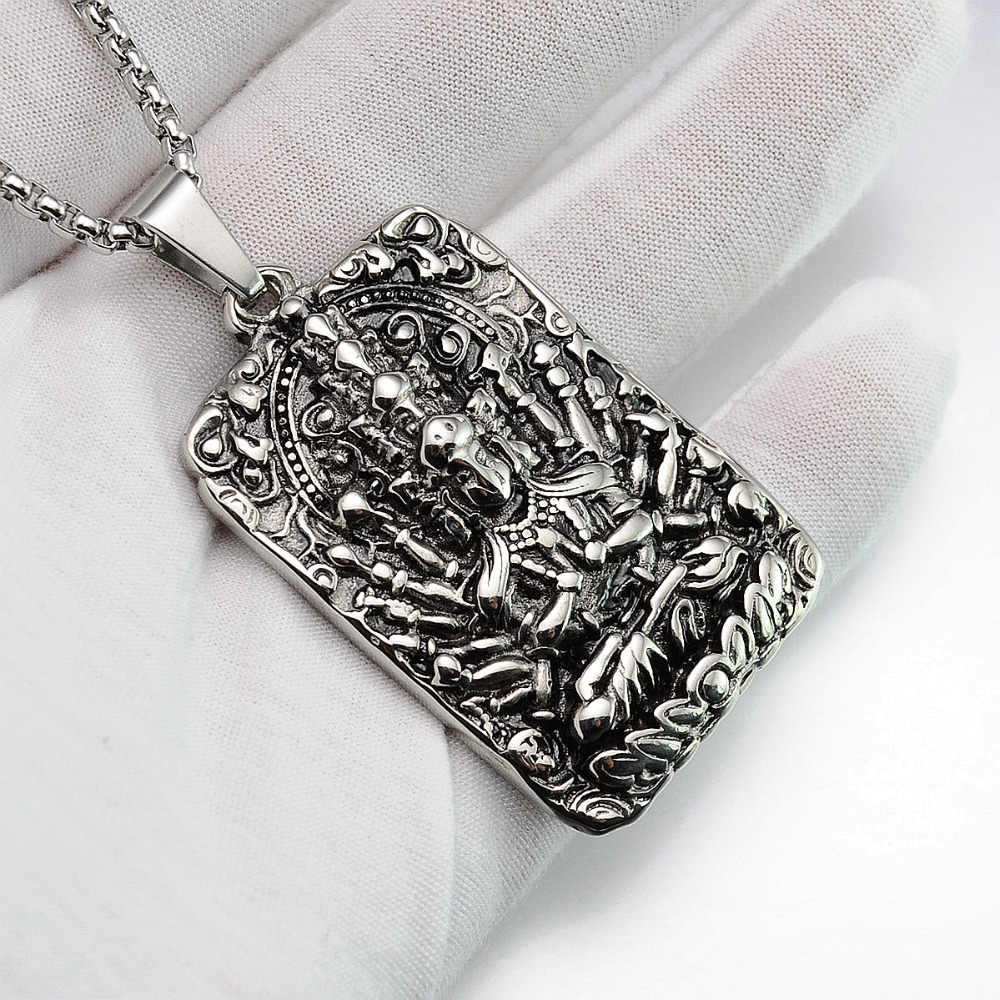 Vintage Look Silver tone 316L Stainless Steel Indian Deity Lord Hanuman  Monkey Pendant Necklace SS Chain 70CM Long