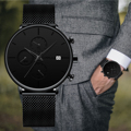 Мужские часы CRRJU  кварцевые Многофункциональные водонепроницаемые сетчатые наручные часы с монитором даты  2019