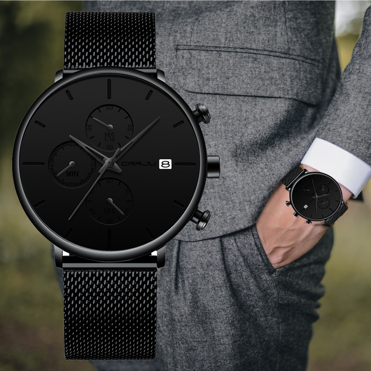 Luxury Brand CRRJU Men Watch 2020 New Minimalist Classic Multi-function Chronograph Waterproof Mesh Wristwatch With Date Display