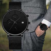 Reloj de pulsera de malla resistente al agua con visualización de fecha de marca de lujo crrhu 2019 nuevo minimalista multifunción cronógrafo