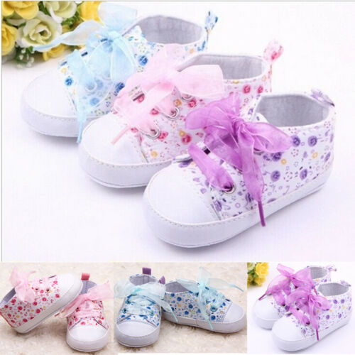 Newborn Baby Kid Floral Soft Sole Shoes Infant Girl Toddler Sneaker Anti-Slip Beatiful Cute Printed Riband Baby Girl Shoes