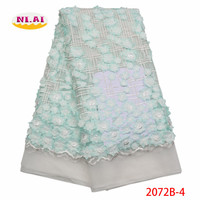 3D Flower 2018 High Quality Lace Fabric African Lace Fabric Mint French Applique Embroidery Lace Fabric For Dress XY2072B 4