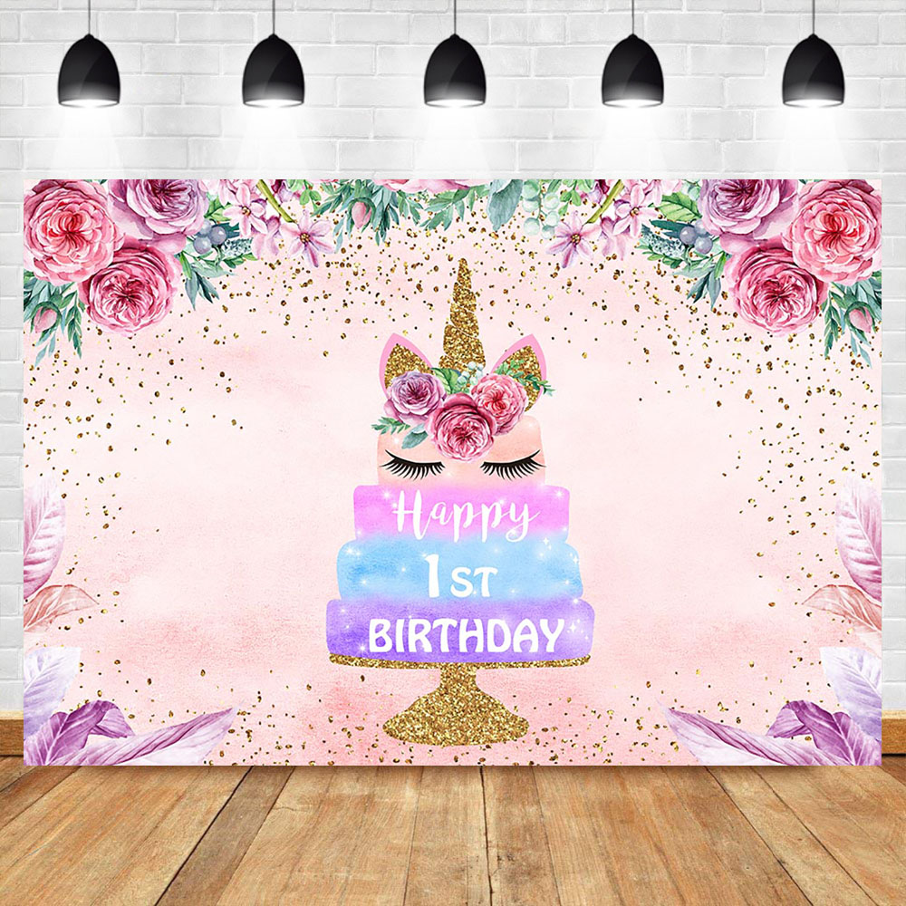 Glitter Gold Unicorn Backdrop Pink Flower Cake Birthday Photography Background Happy 1st Backdrops