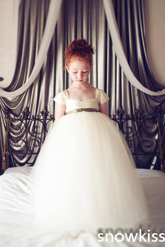̿̿̿(•̪ )Beautiful long tutu flower girl dresses with bow sash simple ...