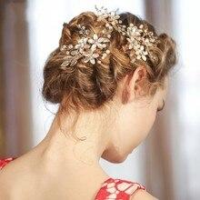 Dower me New Design Gold Vintage Flower Bridal Hair Comb Clip Handmade Wedding Headpiece Accessories