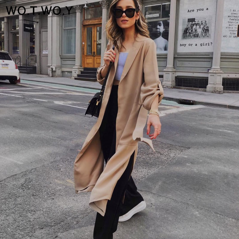 WOTWOY Autumn Winter Long Coat Women Khaki Pocket Split Belt Cardigan Office Lady Elegant   Trench   Coat Female Outwear 2019 New