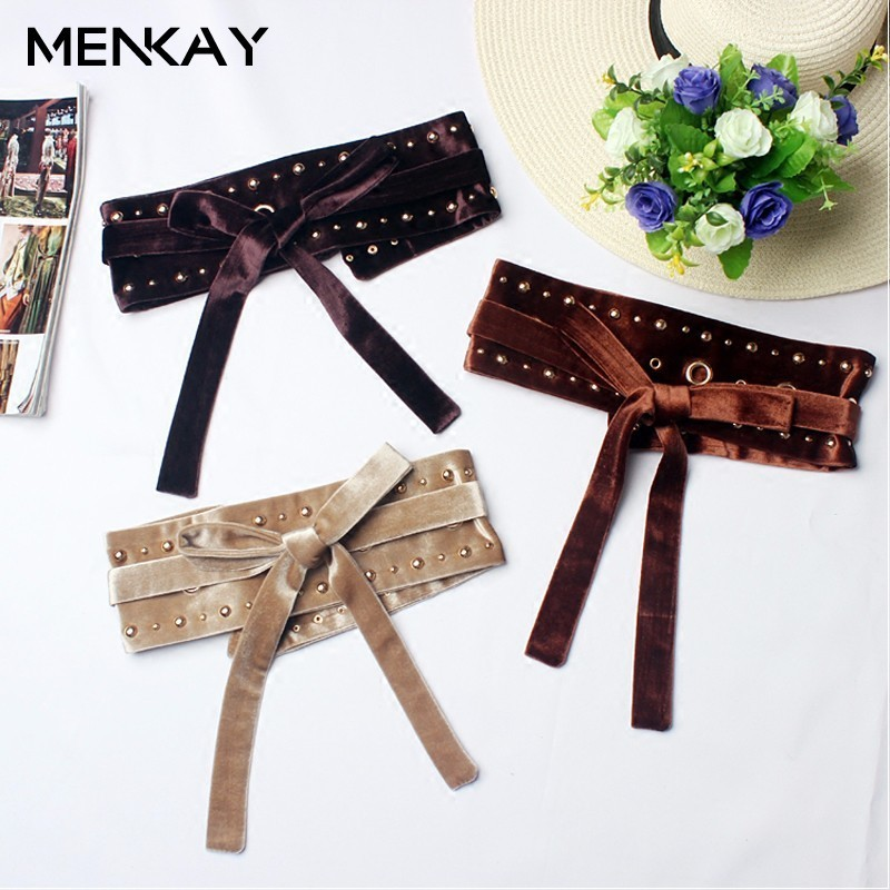 MENKAY Cummerbunds For Women Waist Belt Ma Am Easy Elastic Force Bandage Fashion Decoration Can