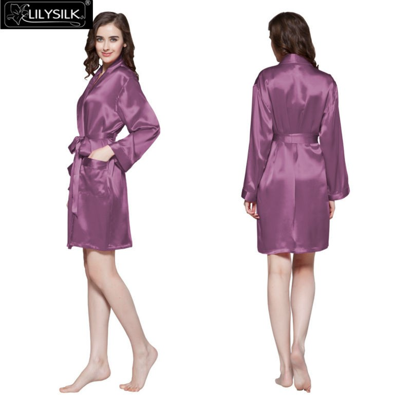 27a449b6f6cd5 Lilysilk 100% Silk Women Short Bride Robe Female 22 Momme Long Sleeve  Pocket Pure Bridesmaid Sleepwear Bathrobe Elegant Summer-in Robes from  Women's ...