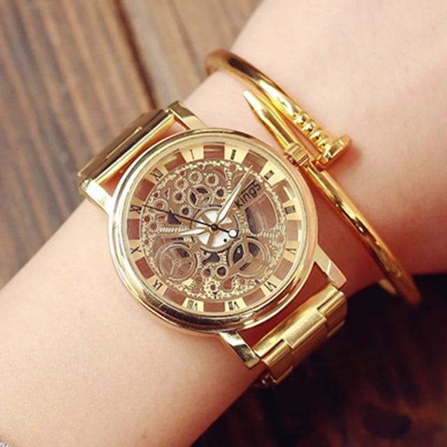relojes hombre 2017 nouvelle montre en acier inoxydable montre femme grand cadran montre en or. Black Bedroom Furniture Sets. Home Design Ideas
