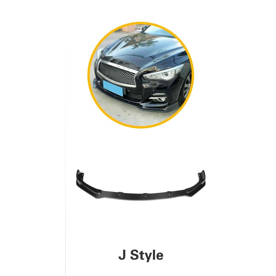 Углеродное волокно передний бампер спойлер сплиттеры для Infiniti Q50 стандартный бампер только 2013 - Цвет: JC Style
