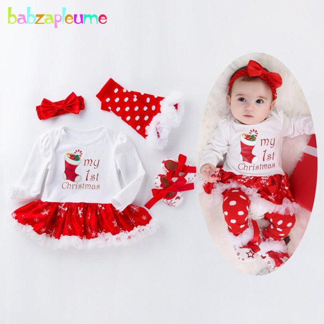 Baby Christmas Outfits Cartoon Cute Cotton Bodysuits+Stockings+Socks+Headband  Newborn Clothes Infant Girls Clothing Sets BC1795 - Baby Christmas Outfits Cartoon Cute Cotton Bodysuits+Stockings+Socks