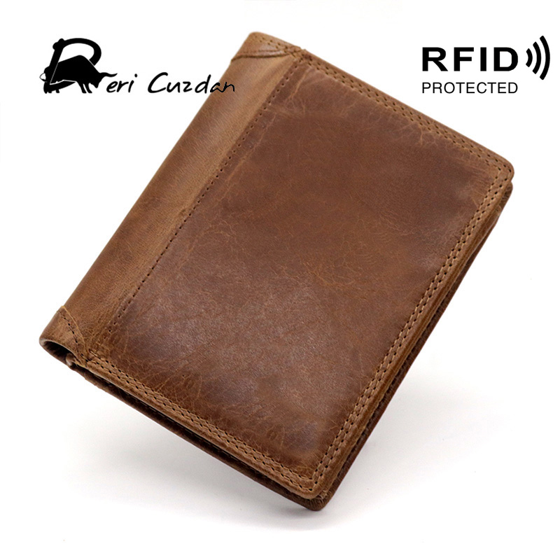 DERI CUZDAN Men Wallets Zipper Wallet and Purses European and American Style Rfid Wallet Leather with Coin Pocket Short Vintage туфли deri