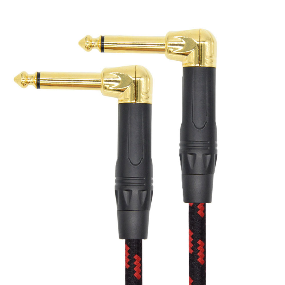 Instrument Right Angle Jack 6.35 mm Mono Cable Gold Plated 1m 2m 3m 5m 10m Male to Male Cable for Guitar Bass Keyboard gold plated vga male to male connection cable transparent blue 3m