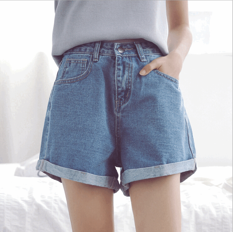 summer loose hole high waist denim   shorts   ruffle fashion female wide leg casual hot   shorts