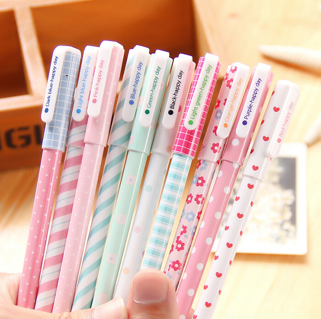 B34 Pack de 10 unids Linda Flor Colorida Gel Pen Set Kawaii Corea Papelería Creativa Regalo de Útiles Escolares