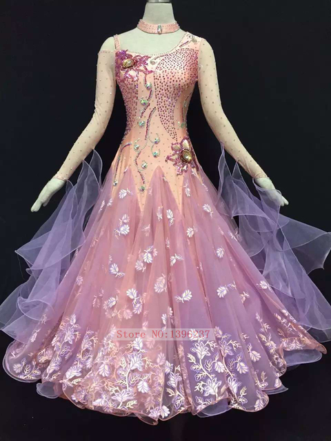 Standard Ballroom Dresses Women S Long Sleeve Professional Waltz Dance Costume Pink Compeion Dancing Dress