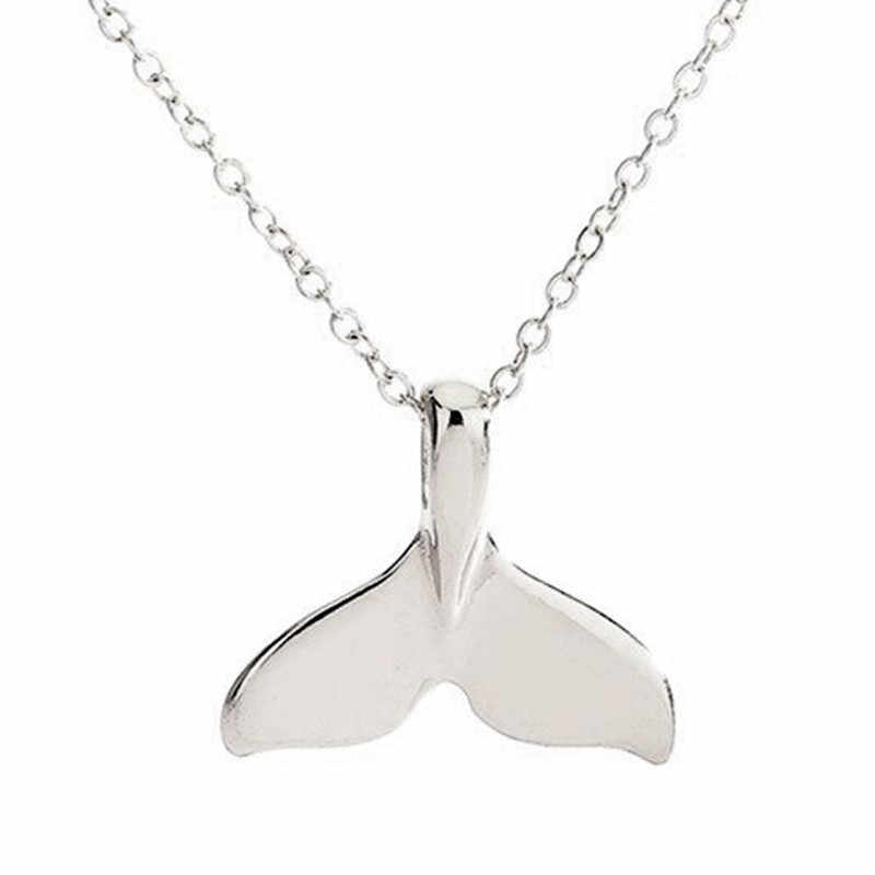 Rétro femmes chaîne collier queue de baleine poisson nautique charme sirène queue pendentif collier bijoux