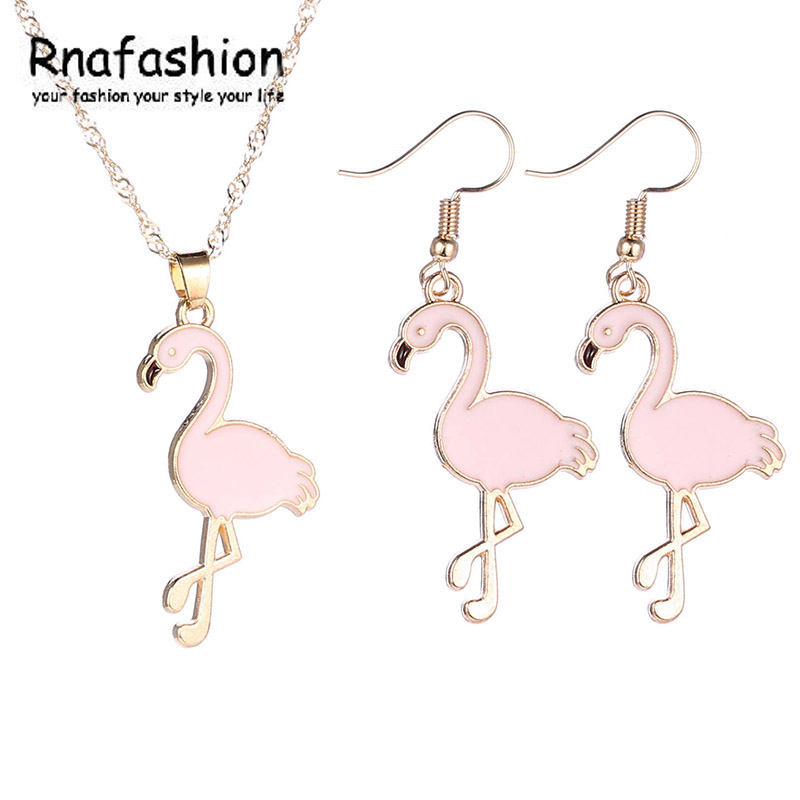 RNAFASHION Cute Animal Pendant Necklace Earring Jewelry Sets Charm Jewellery For Women Girls Baby Kids Yellow Gold Color