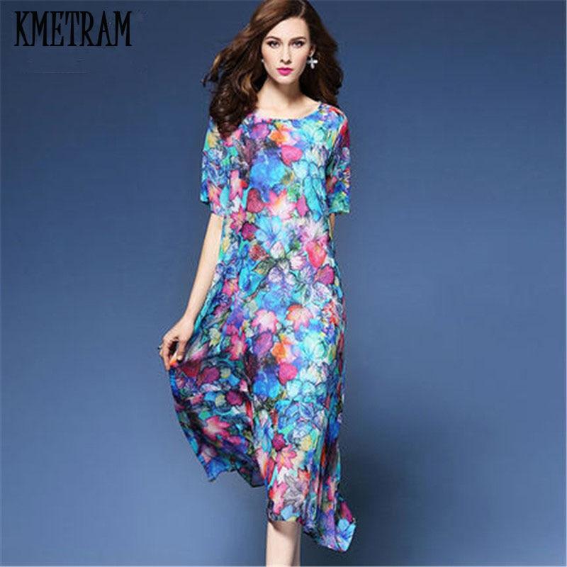 chiffon silk summer dress women flower elbise loose. Black Bedroom Furniture Sets. Home Design Ideas
