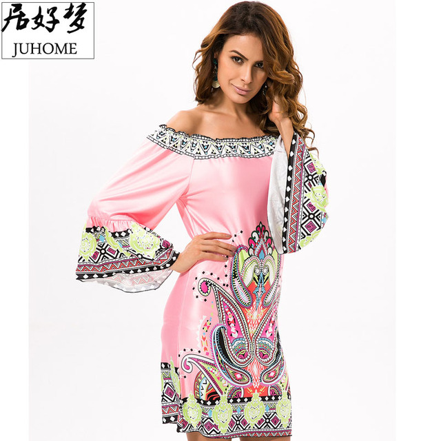 plus size Summer Boho Beach tunic dress women 2017 Off Shoulder runway Floral Vintage Ladies Clothing Sexy Robe femme vestidos