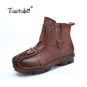 Image 2 - Tastabo Genuine Leather Ankle Boots Velvet Handmade Lady soft Flat shoes comfortable Casual Moccasins Womens shoes