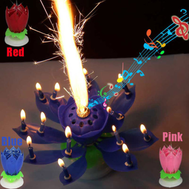 Lots 8 Gorgeous Musical Lotus Flower Birthday Candles Romantic Party