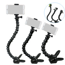 Купить с кэшбэком New Goose Neck with Clamp for Gopro Selfie Stick with Phone Holder for Iphone Xiaomi Huawei Samsung Phones Monopod for Shooting