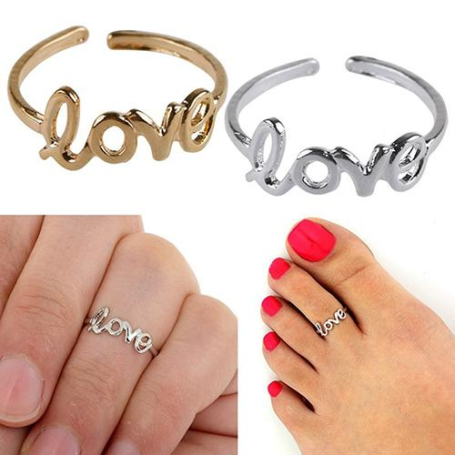 Women Hollow Love Adjustable Finger Toe Open Ring Beach Jewelry stainless steel rings for women anillo mujer engagement ring(China)