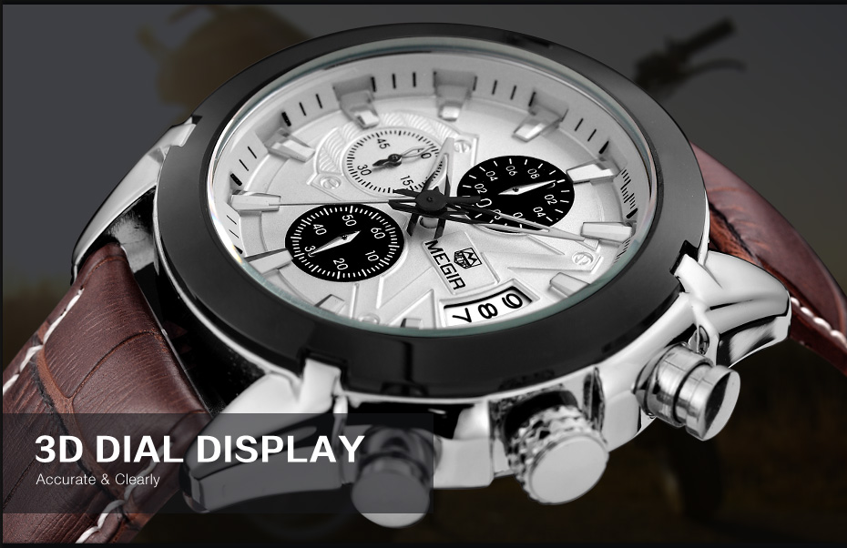Topdudes.com - MEGIR Creative Sports Business Leather Quartz Chronograph Relogio Masculino