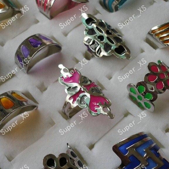 25pcs wholesale jewelry ring lots HOT ON SALE fashion Enamel glaze women men stainless steel Rings LB107 free shipping