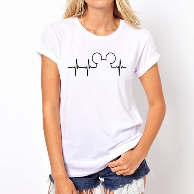 b4a73780d16 T Shirt Plus Size Mickey TShirt Women Shirts Summer Tops Graphic Tees Women Mickey  Mouse Heartbeat Kawaii T-shirt XS-3XL