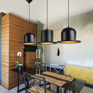 Image 2 - Lampe suspendue rétro en aluminium, Jazz chapeau haut de forme, luminaire dextérieur, noir, idéal pour une chambre à coucher, un Bar ou un café, E27, 110/220v